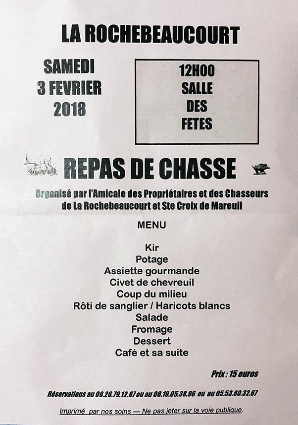 Repas de Chasse à La Rochebeaucourt