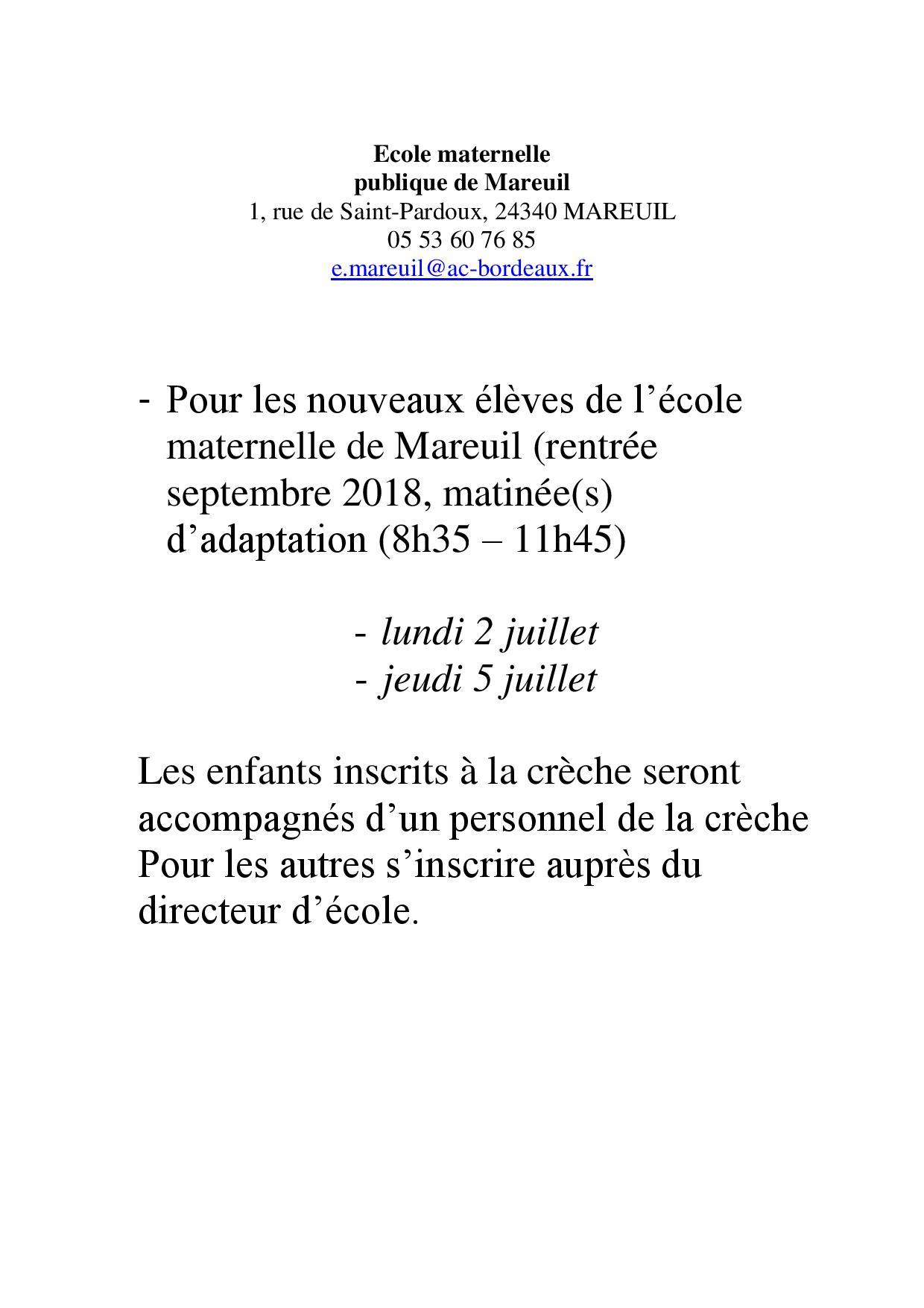 Inscription Ecole Maternelle Mareuil