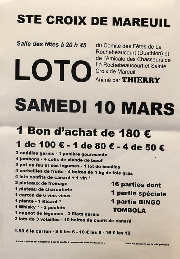Loto, le 10 mars 2018